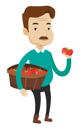 An adult caucasian farmer holding a box with tomatoes. Farmer standing with box of tomatoes. Farmer showing ripe red tomato. Vector flat design illustration isolated on white background.