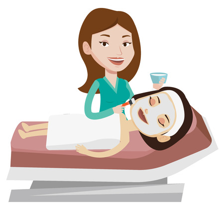 Cosmetologist applying cosmetic mask on face of client in beauty salon. Young woman lying on table in beauty salon during beauty treatment. Vector flat design illustration isolated on white background 版權商用圖片 - 83342317