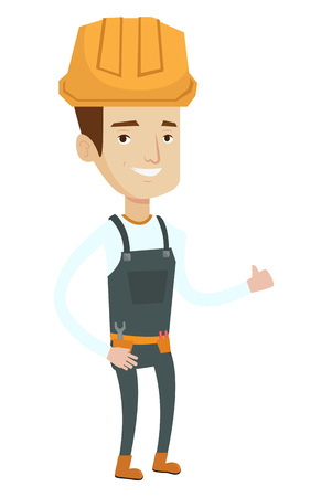 belt up: Young cheerful builder in hard hat giving thumb up. Smiling builder with thumb up. Caucasian builder in overalls with belt with tools. Vector flat design illustration isolated on white background.