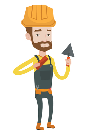 Young confident bricklayer in uniform and hard hat. Caucasian hipster bicklayer with the beard working with a spatula and a brick. Vector flat design illustration isolated on white background. Illustration