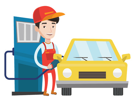 Gas station worker filling up fuel into car. Smiling worker in workwear at the gas station. Caucasian gas station worker refueling a car. Vector flat design illustration isolated on white background. Stock Illustratie