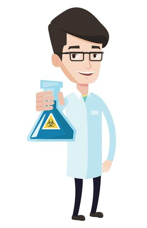 dangerous man: Scientist holding a flask with biohazard sign. Young smiling scientist in medical gown. Scientist showing a flask with some liquid in it. Vector flat design illustration isolated on white background.