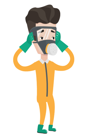 Scientist wearing radiation protective suit. Scientist in protective suit clutching head. Scientist in protective suit and respirator. Vector flat design illustration isolated on white background. Illustration