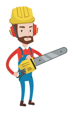 Hipster lumberjack with beard holding chainsaw. Lumberjack in workwear, hard hat and headphones. Young caucasian lumberjack with chainsaw. Vector flat design illustration isolated on white background.