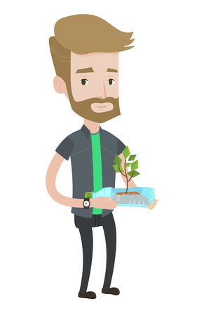 Hipster caucasian man with beard holding in hands plastic bottle with plant growing inside. Man holding plastic bottle used as plant pot. Vector flat design illustration isolated on white background.