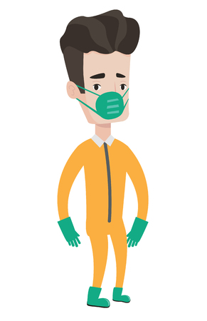 Scientist in gas mask and radiation protective suit. Scientist wearing a radiation protection suit. Caucasian scientist in protective suit. Vector flat design illustration isolated on white background Illustration