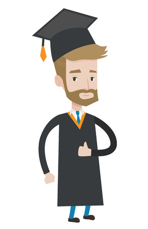 Caucasian happy graduate in cloak and graduation cap. Hipster graduate with the beard giving thumb up. Joyful graduate celebrating. Vector flat design illustration isolated on white background.