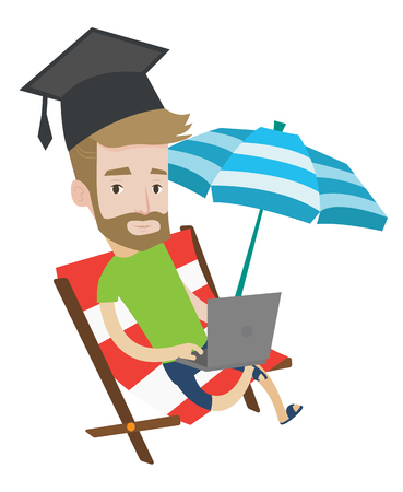 Graduate lying in chaise lounge. Graduate in graduation cap working on laptop. Graduate studying on beach. Online education concept. Vector flat design illustration isolated on white background.
