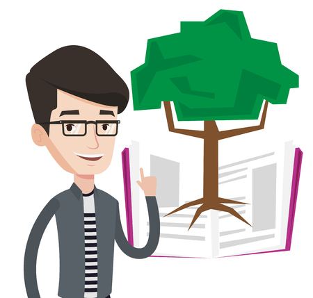 Happy caucasian student standing on the background of tree growing from open book. Young cheerful student pointing at tree of knowledge. Vector flat design illustration isolated on white background.