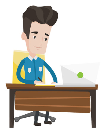 Student sitting at the table with laptop. Student using laptop for education. Happy caucasian man working on laptop and writing notes. Vector flat design illustration isolated on white background.