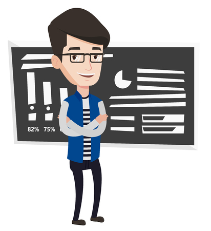 Young caucasian male teacher standing in classroom. Smiling teacher standing in front of chalkboard. Teacher standing with folded arms. Vector flat design illustration isolated on white background.