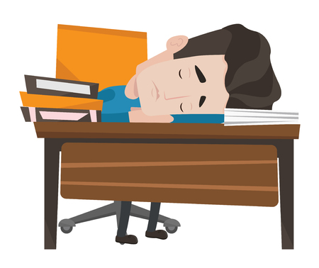 sleeper: Fatigued caucasian student sleeping at the desk with books. Tired student sleeping after learning. Man sleeping among books at the table. Vector flat design illustration isolated on white background. Illustration