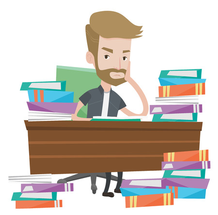 Young angry student studying with textbooks. Caucasians student studying hard before the exam. Hipster student studying in the library. Vector flat design illustration isolated on white background.