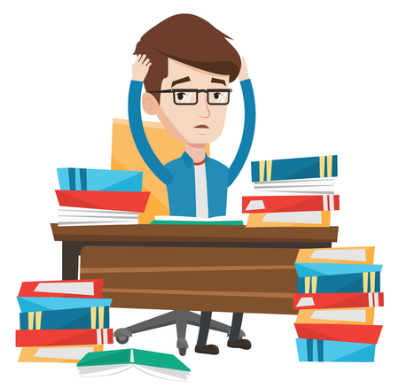 Young stressed student studying with textbooks. Caucasian student studying hard before exam. Desperate student studying in the library. Vector flat design illustration isolated on white background. Stok Fotoğraf - 83342718
