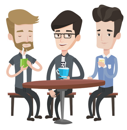 Group of young caucasian friends drinking hot and alcoholic drinks in cafe. Three friends hanging out in cafe. Friends relaxing in cafe. Vector flat design illustration isolated on white background.
