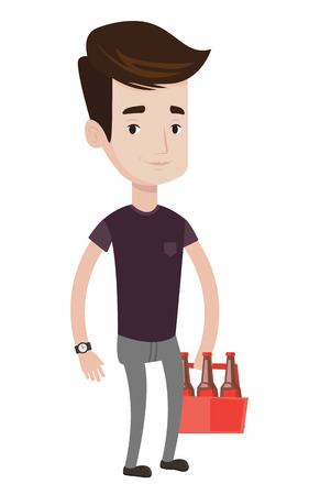 Caucasian man standing with pack of beer. Young man buying pack of beer. Beer lover holding pack of beer. Vector flat design illustration isolated on white background.