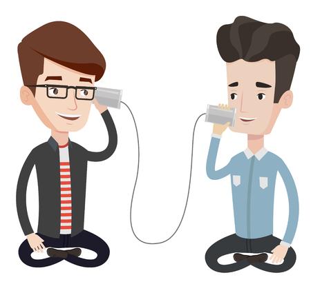 Mannen bespreken iets met behulp van blikje telefoon. Kerel krijgt bericht van vriend op blikje telefoon. Vrienden die door een tintelefoon spreken. Vector platte ontwerp illustratie op een witte achtergrond.