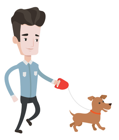 command: Young man with his dog. Happy man taking dog on walk. Caucasian man walking with his small dog. Smiling man walking a dog on leash. Vector flat design illustration isolated on white background.