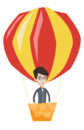 Happy man flying in a hot air balloon. Caucasian man standing in the basket of hot air balloon. Man traveling in a hot air balloon. Vector flat design illustration isolated on white background.