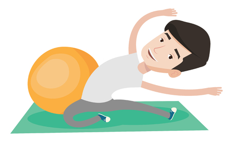Young caucasian man exercising. Man doing stretching on exercise mat. Man doing stretching exercises. Sportsman stretching before training. Vector flat design illustration isolated on white background