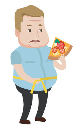 Fat man with slice of pizza in hand measuring a waistline. Fat man measuring a waistline with tape. Fat man with centimeter on a waistline. Vector flat design illustration isolated on white background