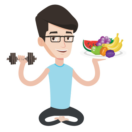 Healthy sportsman with fruits and dumbbell. Healthy caucasian man holding fruits and dumbbell. Healthy man choosing healthy lifestyle. Vector flat design illustration isolated on white background. Illustration