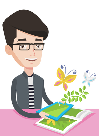 touchpad: Caucasian cheerful man holding tablet computer with application for augmented reality. Concept of augmented reality. Vector flat design illustration isolated on white background.
