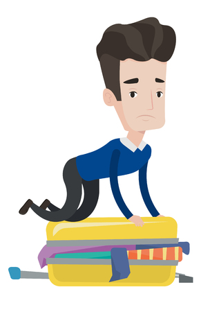 suitcase packing: Caucasian man sitting on suitcase and trying to close it. Young man having problems with packing a lot of clothes into a single suitcase. Vector flat design illustration isolated on white background. Illustration