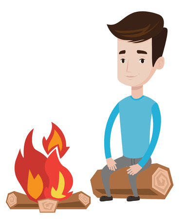Travelling man sitting on a log near a campfire. Young caucasian man sitting near a campfire. Smiling tourist relaxing near campfire. Vector flat design illustration isolated on white background. Illustration