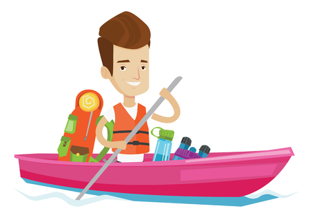 Kayaker riding in kayak on the river with skull in hands and some tourist equipment behind him. Happy caucasian kayaker traveling by kayak. Vector flat design illustration isolated on white background Illustration