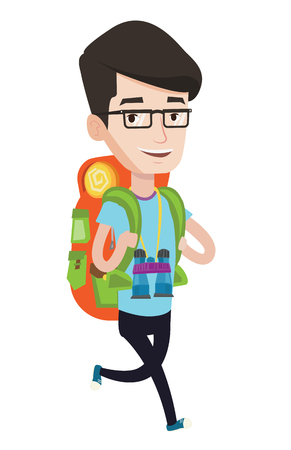Young caucasian backpacker with backpack and binoculars walking outdoor. Cheerful backpacker running. Backpacker during summer trip. Vector flat design illustration isolated on white background.