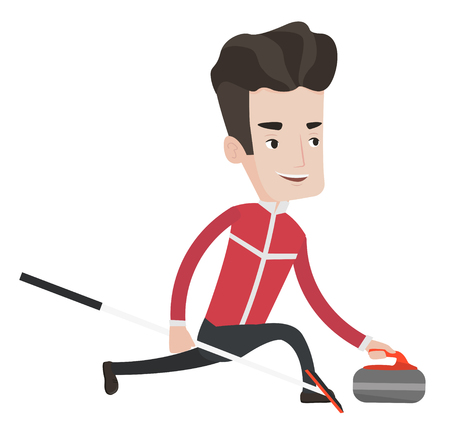 Happy curling player playing curling on a curling rink. Caucasian curling player delivering a stone. Curling player sliding over the ice. Vector flat design illustration isolated on white background. Illustration