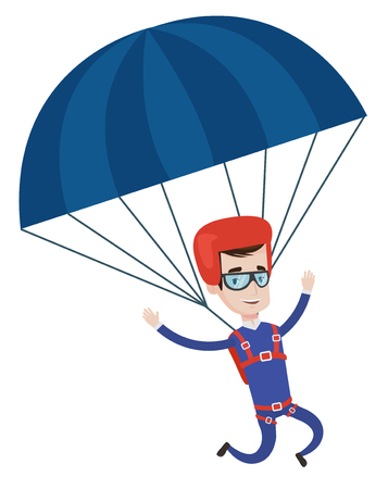 Caucasian man flying with a parachute. Young happy man paragliding on a parachute. Professional parachutist descending with a parachute. Vector flat design illustration isolated on white background.