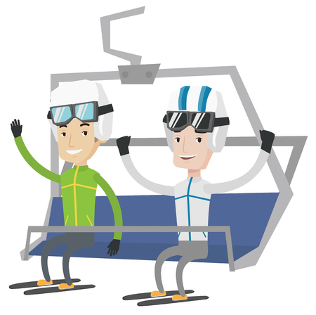 Two happy caucasian men sitting on ski elevator. Smiling skiers using cableway at ski resort. Skiers on cableway at winter sport resort. Vector flat design illustration isolated on white background. Illustration