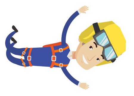 Caucasian parachutist jumping with parachute. Professional male parachutist falling through the air. Happy young man flying with parachute. Vector flat design illustration isolated on white background
