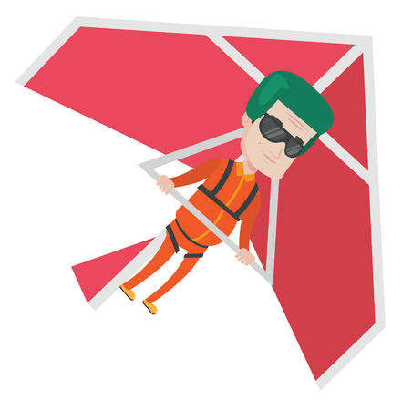 para: Caucasian man flying on hang-glider. Sportsman taking part in hang gliding competitions. Man having fun while gliding on hang-glider. Vector flat design illustration isolated on white background.