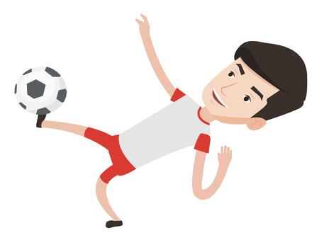 Young caucasian soccer player kicking ball during game. Male soccer player juggling with a ball. Football player playing with soccer ball. Vector flat design illustration isolated on white background.