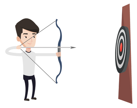 Caucasian bowman shooting with bows during archery competition. Bowman aiming with bow and arrow at the target. Bowman practicing with bow. Vector flat design illustration isolated on white background