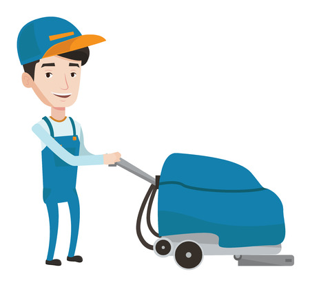 Caucasian cleaner with cleaning equipment. Worker cleaning store floor with cleaning machine. Worker of cleaning services in supermarket. Vector flat design illustration isolated on white background.