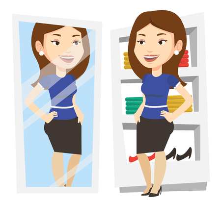 Young woman looking at herself in mirror in dressing room. Girl trying on skirt in dressing room. Woman choosing clothes in dressing room. Vector flat design illustration isolated on white background. Illustration