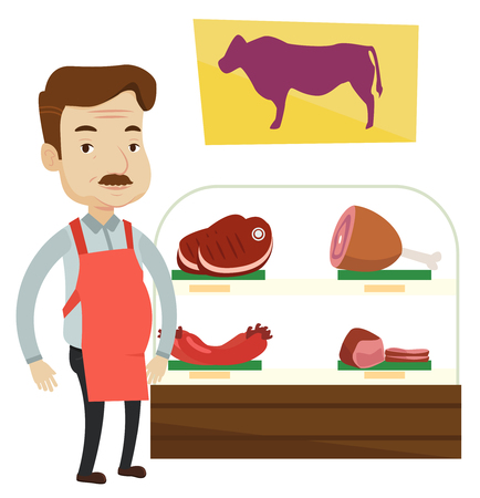 Caucasian butcher offering meat at display in butcher shop. Butcher at work at the counter in butchery. Butcher proud of his butcher shop. Vector flat design illustration isolated on white background.