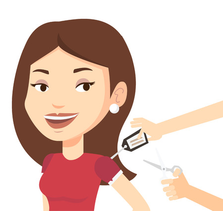 Woman removing price tag off new t-shirt. Caucasian woman cutting price tag off new clothes with scissors. Woman shopping at clothes store. Vector flat design illustration isolated on white background Illustration