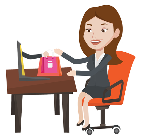 Young happy woman shopping online. Woman getting online order in virtual shop. Cheerful caucasian woman using laptop for online shopping. Vector flat design illustration isolated on white background. Illustration
