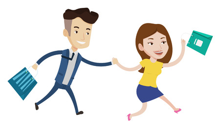 People rushing on sale to the shop. Cheerful woman and man running in hurry to store on sale. Young caucasian customers rushing on sale. Vector flat design illustration isolated on white background.