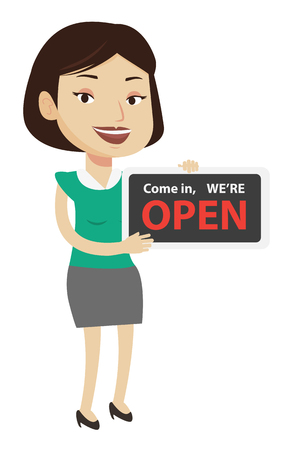 Shop owner holding open signboard. Cheerful female shop owner standing with open signboard. Woman inviting to come in her open shop. Vector flat design illustration isolated on white background. Illustration