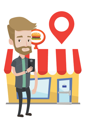 Hipster man holding smartphone with mobile app for looking for restaurant. Young man using smartphone app for searching of restaurants. Vector flat design illustration isolated on white background.
