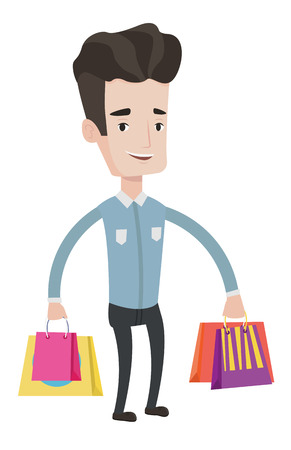 Young smiling man holding shopping bags with purchases. Caucasian man carrying shopping bags. Man standing with a lot of shopping bags. Vector flat design illustration isolated on white background.
