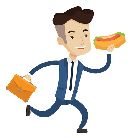 Businessman in hurry eating hot dog. Businessman with briefcase eating on the run. Young man in business suit running and eating hot dog. Vector flat design illustration isolated on white background.