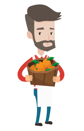 Caucasian greengrocer holding basket with oranges. Hipster greengrocer with the beard holding basket with fruits. Greengrocer at work. Vector flat design illustration isolated on white background.