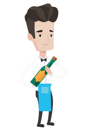 Young waiter holding a bottle of alcohol. Caucasian waiter standing with bottle of wine in hands. Waiter presenting a wine bottle. Vector flat design illustration isolated on white background.
